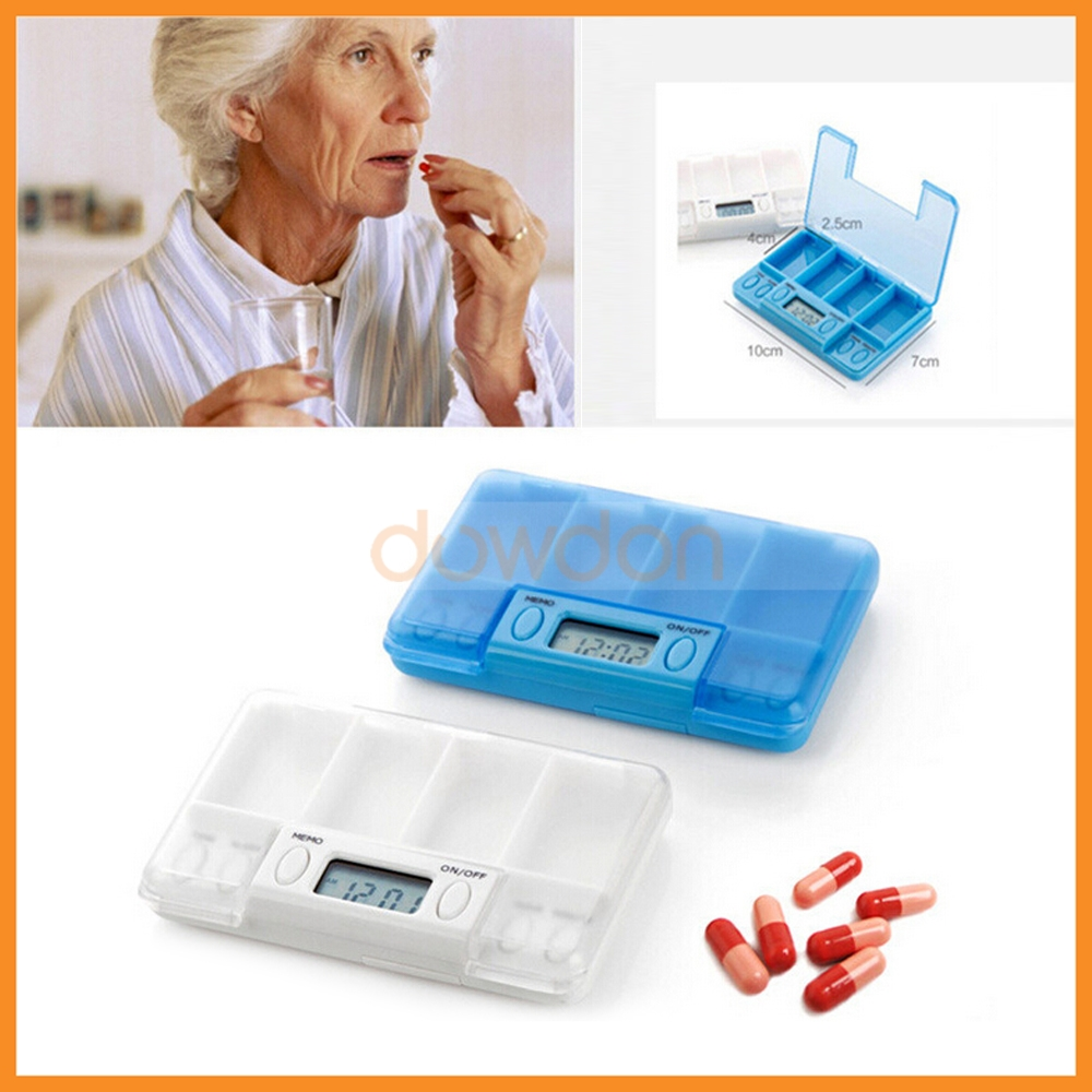 Pill box timer with alarm, square digital plastic pill box with alarms