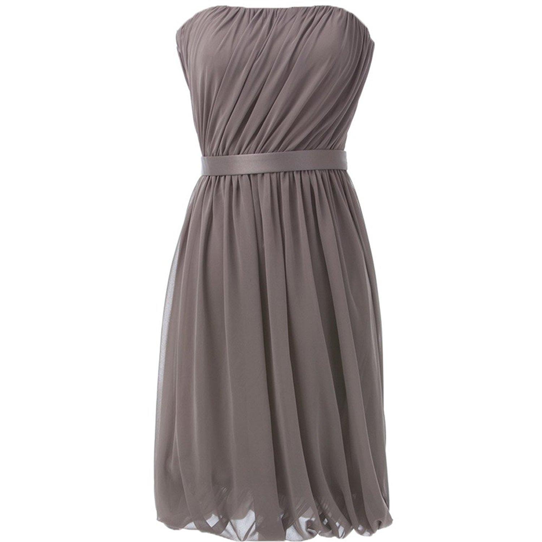 594edda886fd Get Quotations · Butalways 2015 Chiffon Silver Gray Short Prom Dresses  Bridesmaid Dresses (14, Gray)