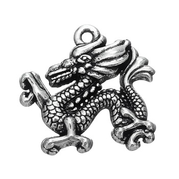 Ancient Tibetan Silver Plated Lucky Symbol Chinese Dragon Charms