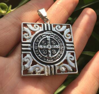 9f2011f9 Christian Jewelry Devil Chasing Vade Retro Satana Go Back Satan Medal  Pendant