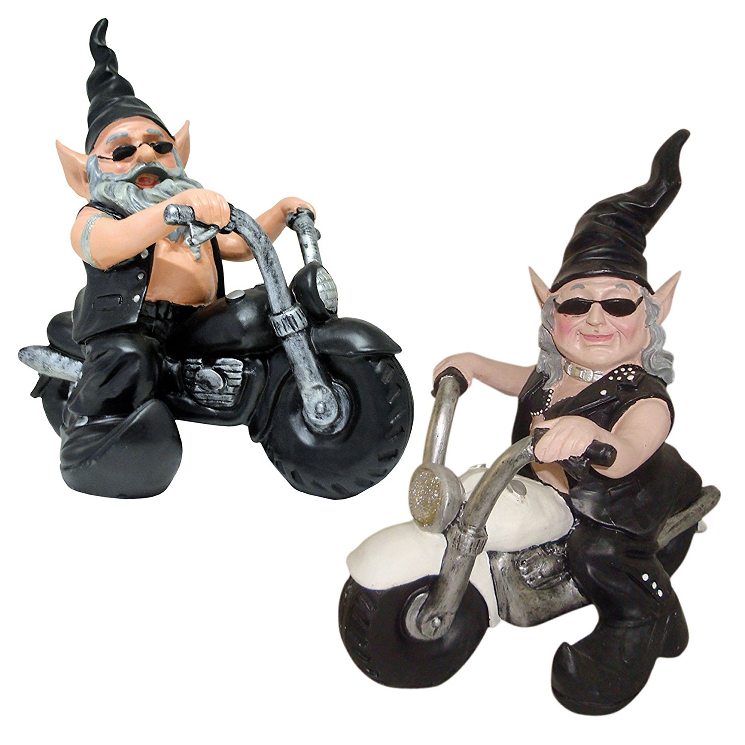 """Nowaday Gnomes Biker Dude & Babe the Biker Gnomes in Leather Motorcycle Gear Riding Black and White Hogs Home & Garden Gnome Statue 12"""" H"""