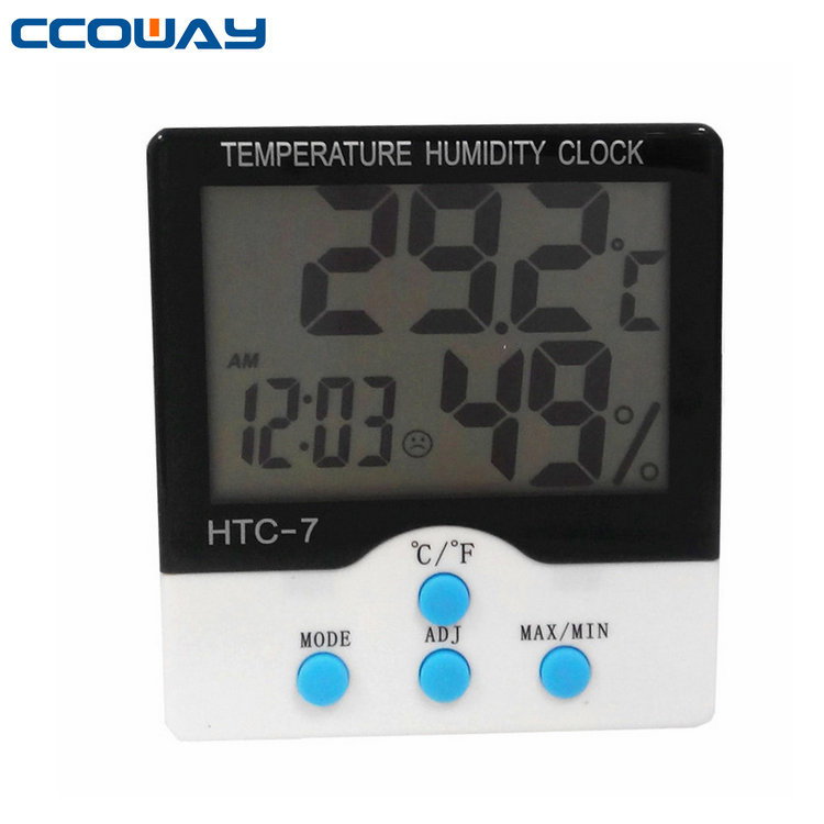 Indoor/outdoor mini high accuracy 12/24 hour clock larger screen thermo hygrometer with clock