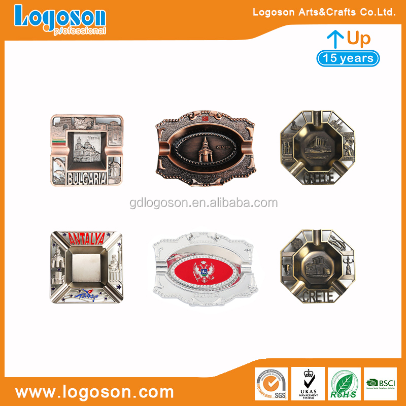 Types Of Ashtrays Souvenirs Factory Custom Metal Round/Oval/Heart Shaped Ash Tray