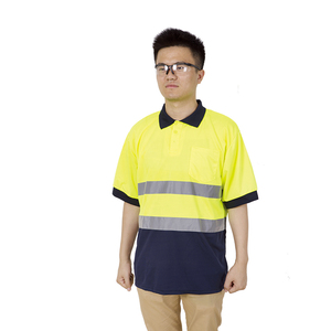 100% cotton lapel button reflective work safety short sleeve T shirt
