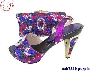 csb7319 Wholesale italian shoes and bag for party and wedding women bag and shoes set