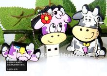 2014 Cute 3D Milch Cow PVC and Silicone USB flash disk cover