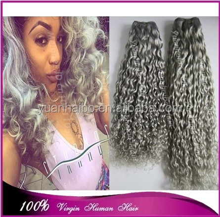 Best 7a quality gray brazilian human hair loose curly silver grey human hair