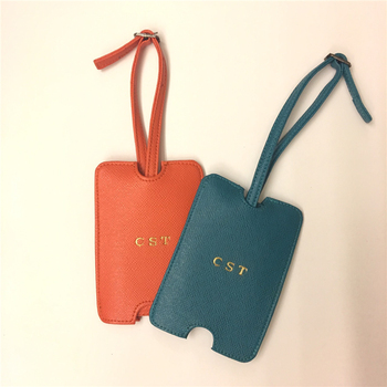 90ba374fd2cd9 Customized saffiano leather travel bag luggage tag drawer name label