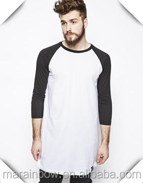 New Fashion Mens Super Longline T Shirts Contrast Raglan 3/4 ...