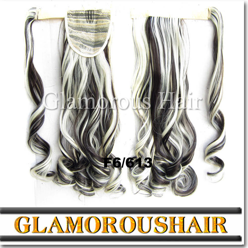 Gray hair weave synthetic hair ponytail