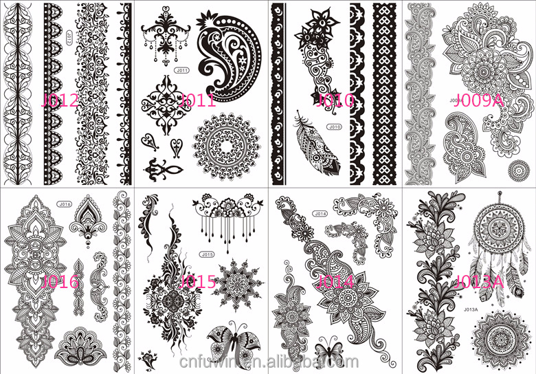 2015 New Tattoo Sticker Designs Jewelry Bracelet Black Henna