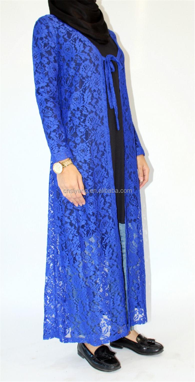 Muslim Women Clothing Long Sleeve Royale Blue Lace Maxi Kimono ...
