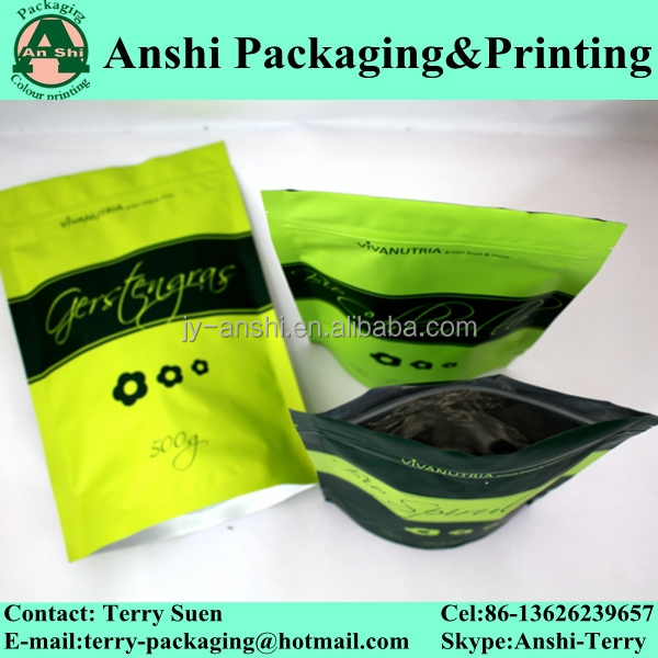 Custom Design Ziplock Stand Up Resealable Aluminum Foil Bag ...