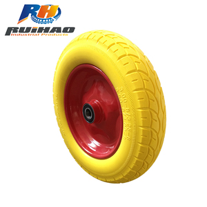 Heavy Duty PU Wheelbarrow Wheels With Metal Rim