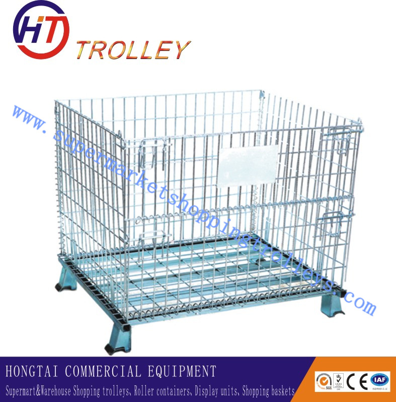 Folding Wire Mesh Pallet Cage Wire Stackable Storage Bins With ...