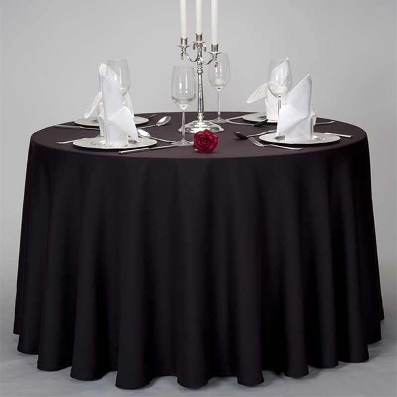 "Wedding Events or Restaurants Used 120"" Round Satin Black Table Cover"