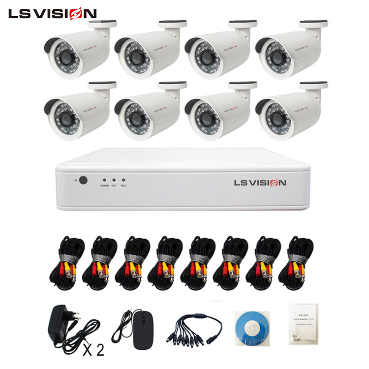 LS VISION 8ch nvr 2mp cctv AHD cameras kit system for office