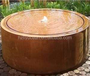 FO-CW15 Forging Technique Corten Steel Water Table , Metal Yard Art Round Water Table