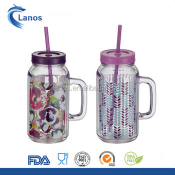 Wholesales 12oz-20oz custom printed tritan plastic mason jar with straw and handle