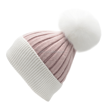 c310ff02208 Wholesale Crochet Knitted Wool Beanie Hat with Real Fox Fur Pom Pom ...