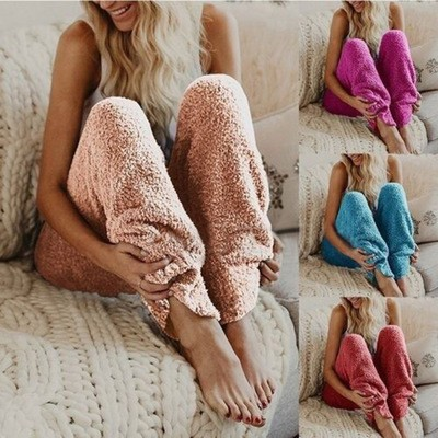 2019 Mode multi-color polyester sherpa polar fleece kasjmier faux bont harembroek warme winter vrouwen losse broek ontwerpen
