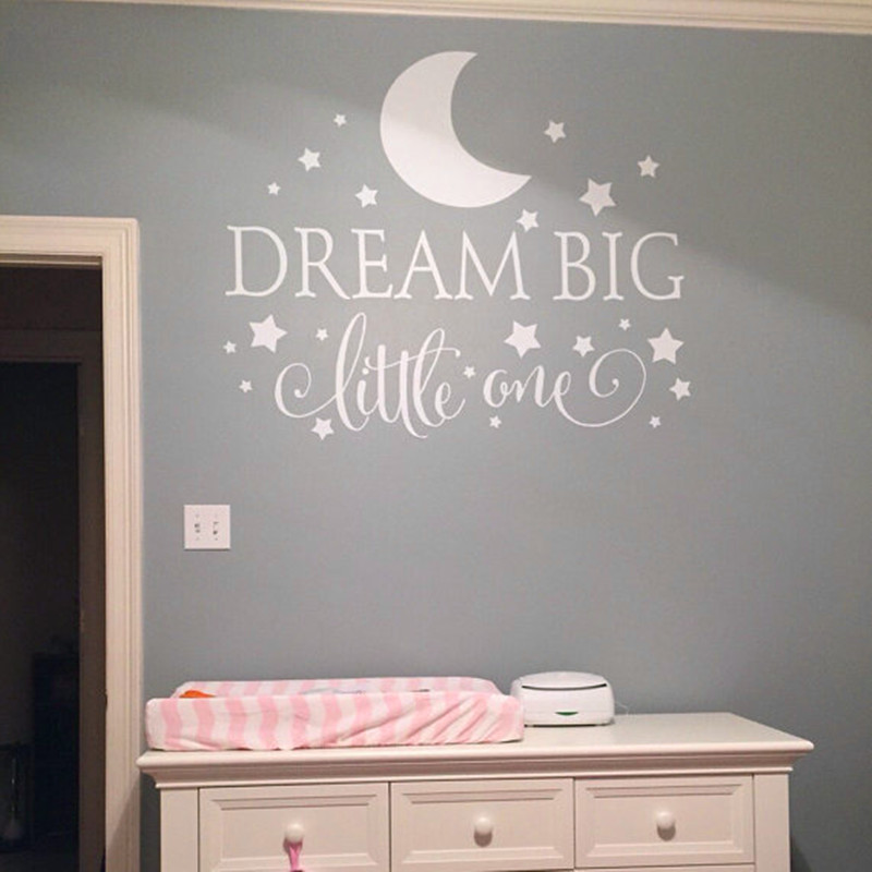 Dream Big Little One Quotes Wall Decal Nursery Wall