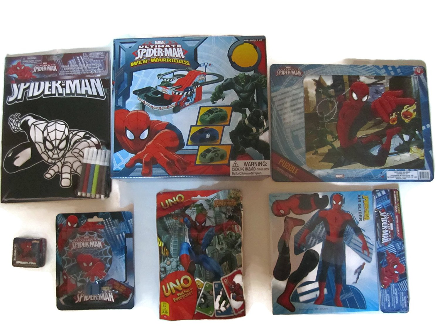 Spider-Man Ultimate Fun Bundle - 1 x Ultimate Spider-Man Web-Warriors Electric Race Set, Uno Cards, Glider, Velvet Coloring Sheet, 16pc Puzzle, Night Light & Magic Towel - (7 Items)