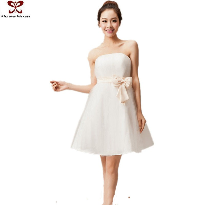 2016 Korean New Fashion Bowknot Tube Alibaba White Wedding Dress