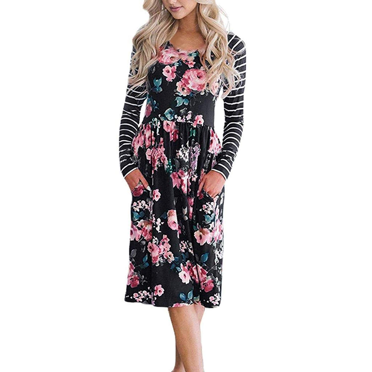 2018 Hot! Casual Autumn Dress,Women Floral Printed Striped Long Sleeve Pleated Maxi Dresses with Pockets