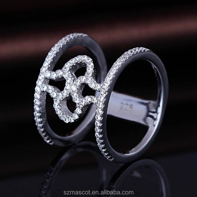 promotional pattern zircon rhinestone rhodium plated finger ring