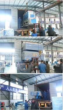 Two head mitre sawing aluminum window machine