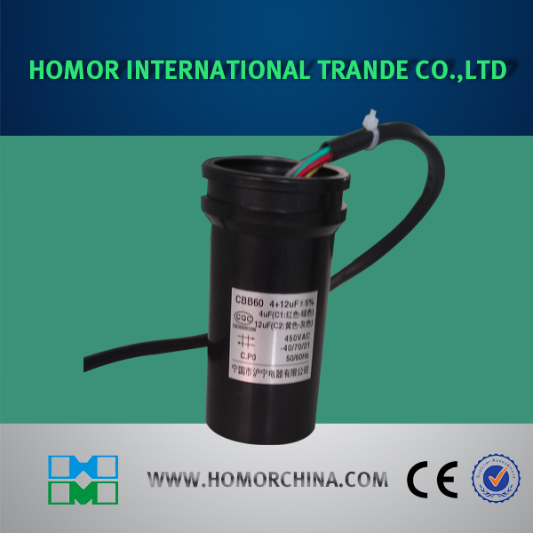 Cbb60 Type Round Sk Black PVC Cover Capacitor