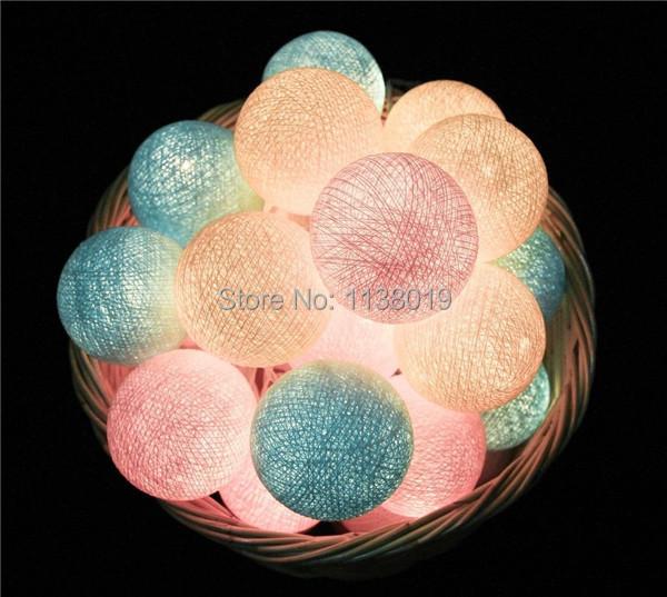 acheter 20 balles pcs pastel douce boule de coton cordes guirlande lumineuse. Black Bedroom Furniture Sets. Home Design Ideas