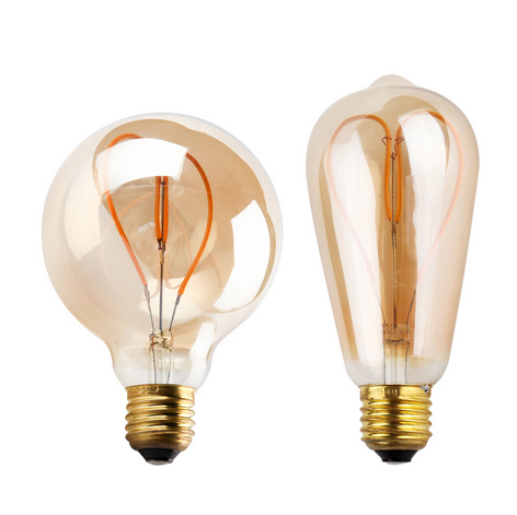 The new product Dimmable Soft LED flexible filament bulbs 4W vintage spiral led edison bulb ST64 G95
