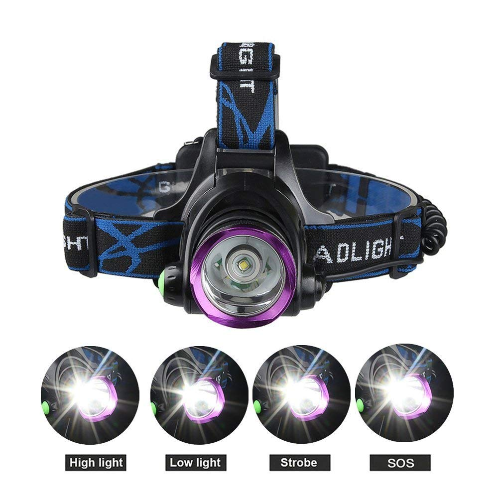 Pro headlight 4 Modes LED Headlight Headlamp, Cree XML T6 Beam Hands-free Flashlight , Fits Head , Helmet , and Belt with Adjustable Headband , for Hunting Fishing Camping Jogging , Waterproof , with Rechargeable 18650
