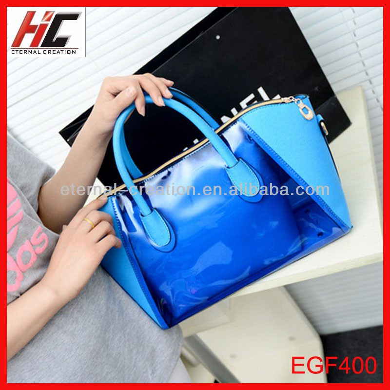2014 hot selling new arrival fashion pu and pvc jelly bags transparent candy handbags