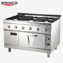 Commercial freestanding gas cooking range in stainless steel