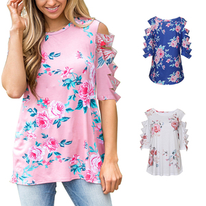 Casual Cut Out Sleeve Woman Blouses And Tops Lady Fashion Blouses 2017