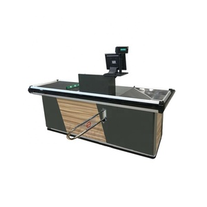 Modern supermarket cashier table checkout counter automatic checkout desk checkout counters with conveyor belt for sale