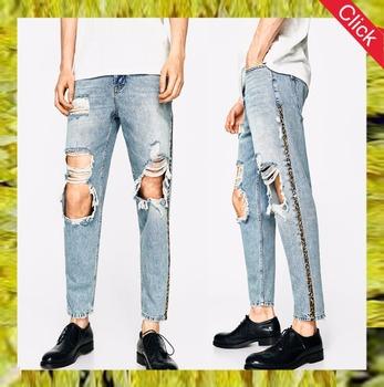 cheap for discount 0267c deb5f Alta Moda All'ingrosso Danneggiato Top 10 Dei Jeans Marche Uomini  Personalizzata Moderna Designer Etero Nuovo Uomo Jeans 2017 - Buy Product  on ...