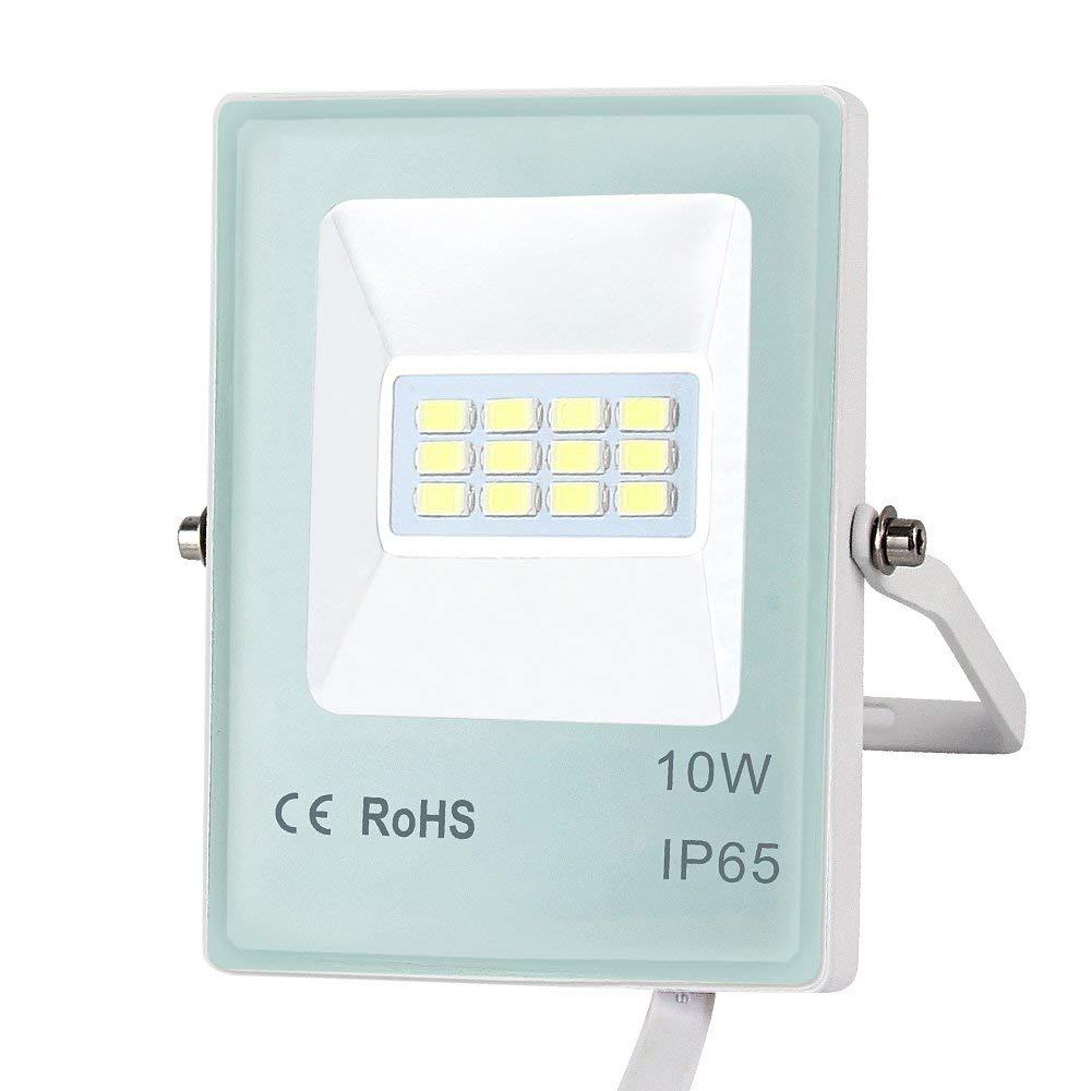 LED Outdoor Flood Lights 10W/20W/30W/50W Super Bright IP65 Waterproof Floodlight, Aluminum + Glass Body, 5000K Daylight White Security Light (10W 800lm)