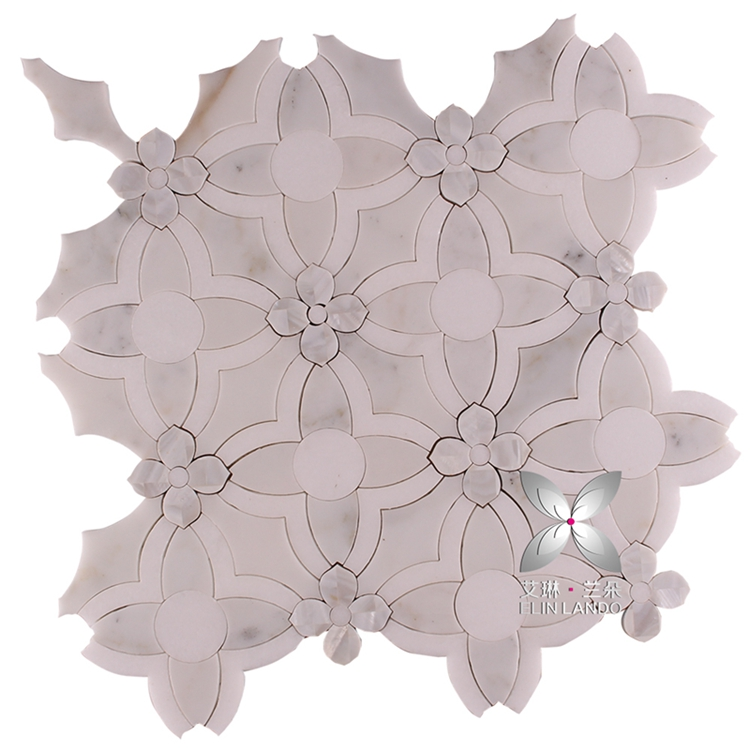 freshwater pearls decorative wall floor flower tiles design water jet mosaic tile
