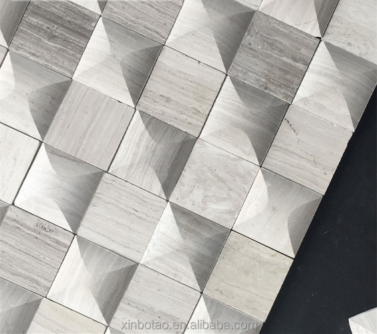 Mosaic Manufacture 3D Grey Wooden Vein Marble Square Mosaic Wall Tile For Sale