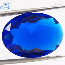 HQ Rhinestone Glass Crystal Cup Chain Oval Blue Glass Stones