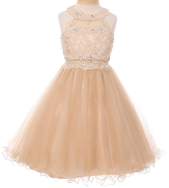 edb74625de8 Get Quotations · Dreamer P Sparkle Rhinestones Halter Lace Junior  Bridesmaid Pageant Flower Girl Dress