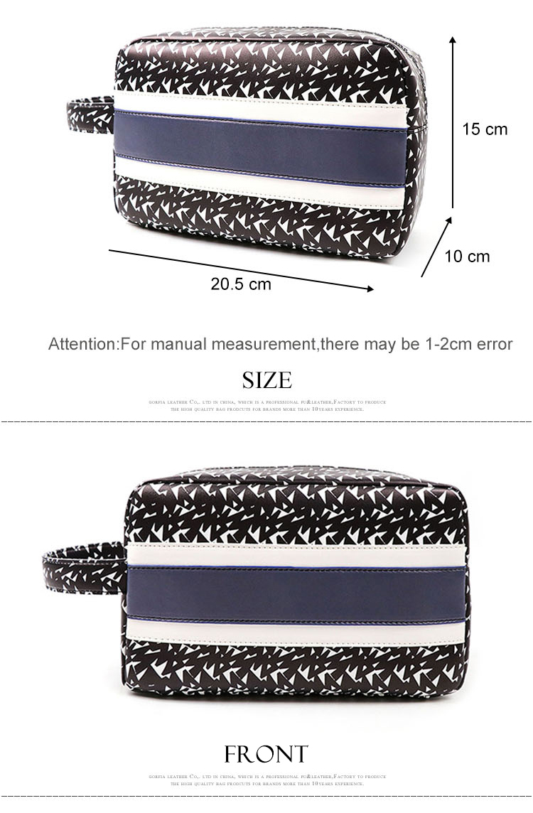 Wholesale guangzhou factory price OEM fashion toiletry bag with handle PU leather printing women cosmetic bag