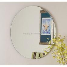 sin marco de vidrio biselado de la pared espejos ovalados forma redonda precio en shandong china
