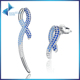 Authentic 925 Sterling Silver Blue Ribbon anquet Long Drop Earrings for Women