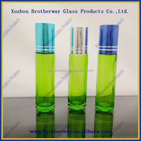 green painting 10ml roll on glass bottles with aluminum caps wholesale