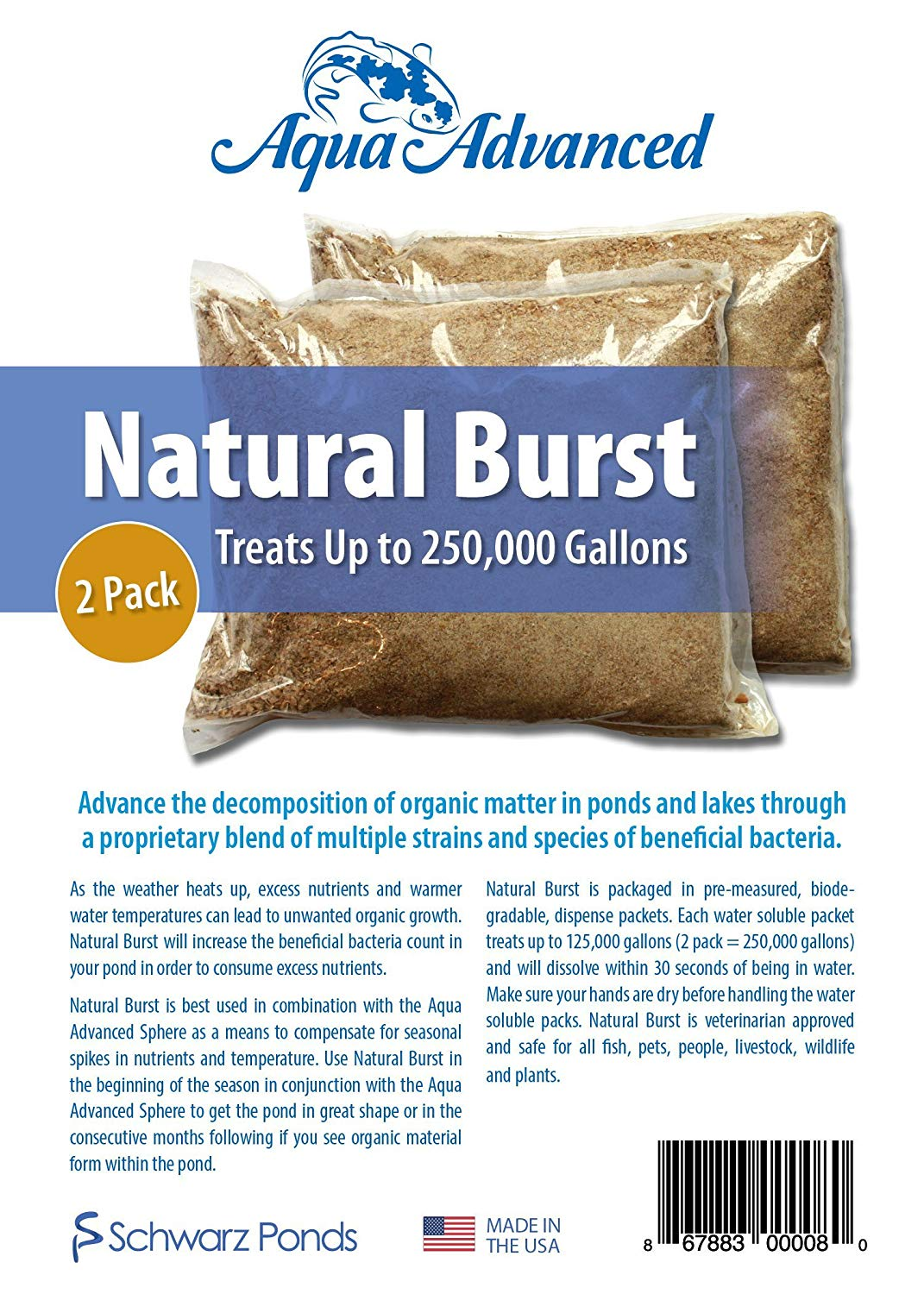 Aqua Advanced Natural Burst (2 Pack) - Solid Bacteria, Reduces Organic Growth, Large Pond Water Treatment